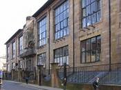 The front (north) CM Mackintosh's Glasgow School of Art on Renfrew Street, Garnethill in Glasgow, Scotland.