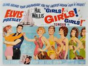 Low-resolution reproduction of poster for the film Girls! Girls! Girls! (1962), directed by Norman Taurog, featuring star Elvis Presley