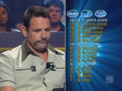 Fragment from the Australian version showing the contestant and the sixteen-question money tree.
