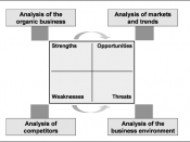 English: Figure 10: SWOT-Analysis of the organic business idea. Belongs to The Organic Business Guide.