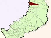 A map of Esperanza's municipio in Misiones province, Argentina. The big point is Puerto Esperanza town.