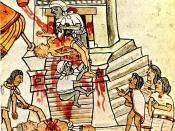 English: Aztec ritual human sacrifice portrayed in the page 141 (folio 70r) of the Codex Magliabechiano..