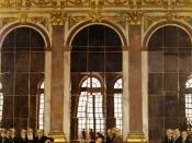 Signing of the Treaty of Versailles in the Hall of Mirrors at the Palace of Versailles in 1919.