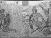 Gladiatorial combat scenes. Mosaic from Verona.