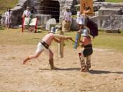 show fight in Carnuntum: thraex vs. murmillo gladiators