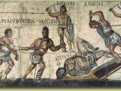Villa Borghese gladiator mosaic Español: (obitus)// Iaculator// [------]/ Rodan[---]