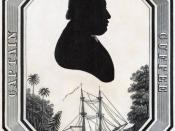 Captain Paul Cuffee, Print shows a silhouette head-and-shoulders portrait of Paul Cuffe, a prosperous businessman and sea captain, above a ship docked in a tropical region, possibly Sierra Leone. 1 print : engraving.
