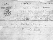 The telegram send by the Mustafa Kemal Ataturk after the referendum by Hatay