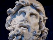 English: Head of Odysseus from a sculptural group representing Odysseus blinding Polyphemus. Marble, Greek artwork of the 2nd century BC. From the villa of Tiberius at Sperlonga. Stored in the Museo Archeologico Nazionale in Sperlonga. Français : Tête d'U
