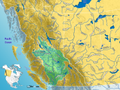 The watershed of the Fraser River in western Canada.