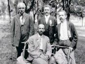 Left: Niagara Movement leaders W.E.B. Du Bois (seated), and (left to right) J.R. Clifford, L.M. Hershaw, and F.H.M. Murray at Harpers Ferry.