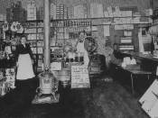 Interior of a dry grocer, downtown Vancouver, Washington, circa 1909.