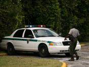 Park Ranger with car in Everglades National Park