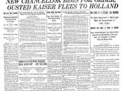 The New York Times uses an unusually large headline to announce the Armistice with Germany at the end of World War I.