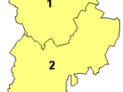 A map of Bedfordshire, showing the districts: (1) Bedford; (2) Central Bedfordshire; and (3) Luton