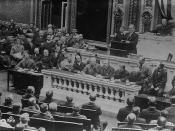 English: President Woodrow Wilson addresses the United States Congress early in his first term.