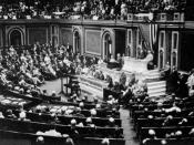 President Wilson before Congress, announcing the break in the official relations with Germany. February 3, 1917. Public domain, från http://teachpol.tcnj.edu/amer_pol_hist/thumbnail292.html