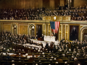 President Woodrow Wilson asking Congress to declare war on Germany, causing the United States to enter World War I.
