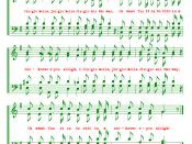 English: A rendition of the musical notation for the chorus of