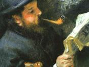 Claude Monet Reading (1872) by Renoir