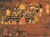 An Elegant Party (detail), an outdoor painting of a small Chinese banquet hosted by the emperor for scholar-officials from the Song Dynasty (960-1279). Although painted in the Song period, it is most likely a reproduction of an earlier Tang Dynasty (618-9