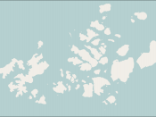 Map of Franz Josef Land archipelago in the Arctic Ocean north of Russia