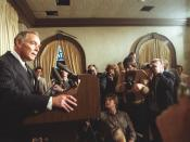 Secretary of State Haig speaks to the press after the attempted assassination on President Ronald Reagan