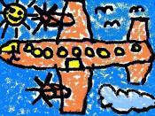 English: Airplane. Childish painting by adult. Work of author who categorizes himself as non-artist. Português: Aeroplano. Pintura infantil de adulto. Obra de autor que categoriza a si mesmo como não-artista.