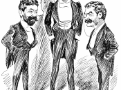 Richard D'Oyly Carte, W. S. Gibert, and Arthur Sullivan together again for Utopia, Limited, after a long quarrel.