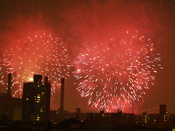 English: The New York City fireworks over the East Village of New York City.