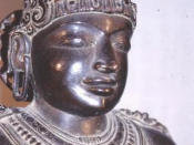 Detail of the statue of Rajaraja Chola at Brihadisvara Temple at Thanjavur.
