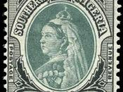 Queen Victoria on a Southern Nigeria Protectorate 1 shilling stamp of 1901.