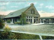Postcard of Allston Depot in Allston section of Boston, Massachusetts with 1909 postmark Caption: