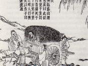 A Ming Dynasty print drawing of Confucius on his way to the Zhou Dynasty capital of Luoyang.