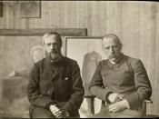 Fridtjof Nansen og Erik Werenskiold i malerens atelier, ca 1907
