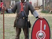 English: Roman soldier 175 a.C. from a northern province. Deutsch: Römischer Legionär um 175 n.Chr. aus Regensburg. Die Bekleidung ist den Witterungsverhältnissen angepasst. Der Schienenpanzer durch das Kettenhemd ersetzt, Gladius durch Spatha und auch de