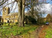 English: Claxby Church. Picture shows the secluded setting of the church of St. Mary at the end of a