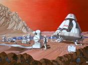English: NASA artist's conception of a human mission to Mars (1989 painting by Les Bossinas of NASA Lewis Research Center).