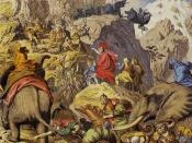 Depiction of Hannibal and his army crossing the Alps during the Second Punic War.