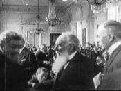 The negotiations before signing the Treaty of Trianon in Versailles, 1920. The treaty fixed the new common borders of Hungary with Austria, Czechoslovakia, Romania, and Yugoslavia. In the middle of the picture, Nikola Pasic of Serbia (with long beard). A