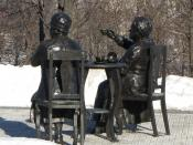 English: Louise McKinney and Henrietta Muir Edwards (arm up), Famous Five statue, Parliament Hill, Ottawa, Ontario, Canada