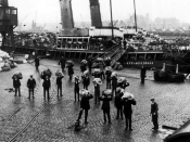 Men unloading mail from the Sir Francis Drake at Millbay Docks, Plymouth