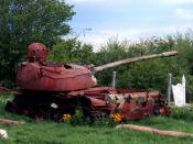 Soviet-built T-55-tank used by serbian military lies in ruins near Prizren, Kosovo. Picture taken in 2005.