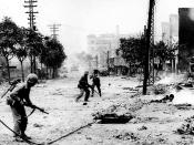 Urban combat in Seoul, 1950, as US Marines fight North Koreans holding the city.