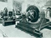 English: Tesla's Polyphase Alternating Current 500 horse power generator, in Westinghouse exhibit in the Electricity building of the 1893 World Columbian Exposition in Chicago.