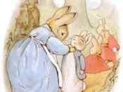 Illustration of Peter Rabbit with his family, from The Tale of Peter Rabbit