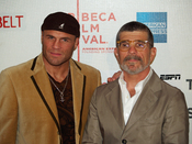 Randy Couture and David Mamet at the premiere of Redbelt at the 2008 Tribeca Film Festival.