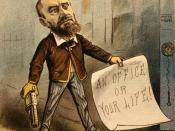 English: Political cartoon created for the cover of Puck Magazine on July 13, 1881. The cartoon shows Charles J. Guiteau with a gun, and a note that reads