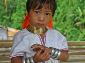 A young Kayan girl from Myanmar in northern Thailand refugee camp.
