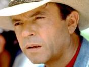 Sam Neill as his character Alan Grant in the first Jurassic Park film